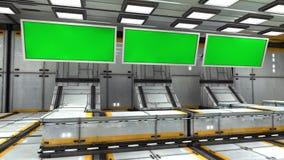 Écran 3d vert futuriste Photos libres de droits