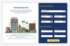 Conception d'écrans d'Onboarding dans la forme et l'icône de réservation d'hôtel Photographie stock