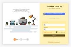 Conception d'écrans d'Onboarding sous l'icône et la forme de connexion Illustration moderne et simplifiée de vecteur Image libre de droits
