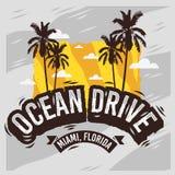 Conception d'été de Miami Beach la Floride d'entraînement d'océan avec l'illustration de palmiers Photos libres de droits