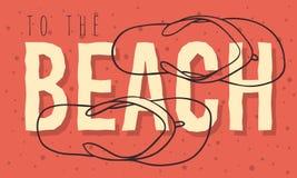 Conception d'été de plage avec la ligne tirée par la main Art Illustrations de Flip Flops Slippers Beach Shoes de vue supérieure Illustration Stock