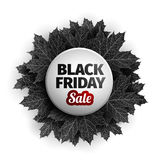conception d'étiquette de vente de vendredi du noir 3d Feuilles d'automne réalistes noires Illustration de vecteur Vecteur d'ENV  Image libre de droits