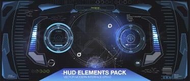 Conception d'affichage à lecture tête haute futuriste de VR Casque HUD de la science fiction Future conception de technologie illustration libre de droits