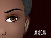 Conception d'affiche avec le visage africain de femme illustration de vecteur