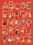 Conception d'affiche d'alphabet avec les illustrations animales Photographie stock libre de droits