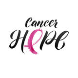 Conception d'affiche de calligraphie de conscience de cancer du sein de vecteur Ruban rose de course Octobre est mois de conscien Photo libre de droits