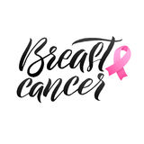 Conception d'affiche de calligraphie de conscience de cancer du sein de vecteur Ruban rose de course Octobre est mois de conscien Images libres de droits