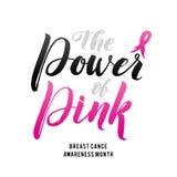 Conception d'affiche de calligraphie de conscience de cancer du sein de vecteur Ruban rose de course illustration stock
