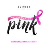 Conception d'affiche de calligraphie de conscience de cancer du sein de vecteur Ruban rose de course illustration libre de droits