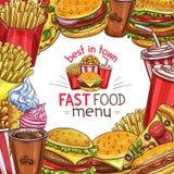 Conception d'affiche de menu de croquis d'aliments de préparation rapide de vecteur Photographie stock libre de droits
