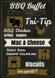 Conception d'affiche de menu de partie de BBQ de vintage avec de la viande, boeuf poulet Images stock