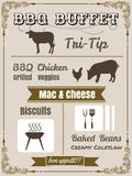 Conception d'affiche de menu de partie de BBQ de vintage avec de la viande, boeuf poulet, Images stock