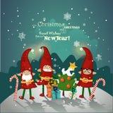 Conception d'affiche de Noël de vintage avec des elfes de Noël