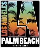 Conception d'affiche de T-shirt de Palm Beach de Los Angeles illustration libre de droits