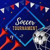 Conception d'affiche de tournoi du football avec des klaxons, ballon de football Photos libres de droits