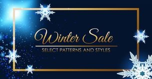Conception d'affiche de vente d'hiver avec le cadre d'or Photos stock