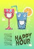 Conception d'affiche d'heure heureuse avec les caractères drôles du verre du cocktail ou de Juice Vector Image illustration stock