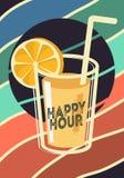 Conception d'affiche d'heure heureuse avec un verre de cocktail ou de Juice Vector Image illustration stock