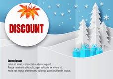 Conception d'affiche ou d'insecte de remise dans le style de papier d'art avec le flocon de neige dans la saison de Noël Illustra Images libres de droits