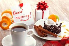 Conception d'amour avec du café de matin Images libres de droits
