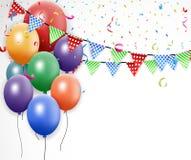 Conception d'anniversaire avec le ballon et les confettis Photo libre de droits