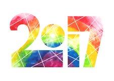 Conception 2017 d'aquarelle d'arc-en-ciel d'année illustration libre de droits