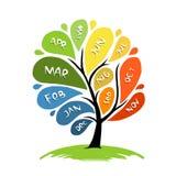 Conception d'arbre d'art avec 12 mois de pétale d'année Photo stock