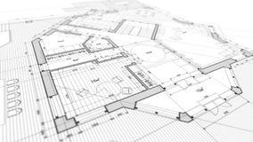 Conception d'architecture : plan de modèle - illustration d'un mod de plan photo stock
