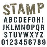 Conception d'armée de timbre de police d'alphabet illustration stock