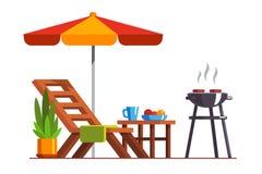 Conception d'arrière-cour avec le canapé et le gril pour le BBQ illustration libre de droits