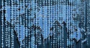 Conception d'art de fond de matrice d'ordinateur Chiffres sur l'écran Données graphiques de concept de résumé, technologie, décry photos stock