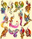 Conception d'art de tatouage de collection d'oiseau illustration libre de droits