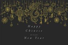 Conception d'aspiration de main de vecteur pour la couleur d'or chinoise de carte de voeux de nouvelle année Typographie et icône images stock