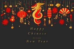 Conception d'aspiration de main de vecteur pour la couleur colorée chinoise de carte de voeux de nouvelle année Typographie et ic image stock