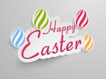 Conception d'autocollant, d'étiquette ou de label pour la célébration heureuse de Pâques Photographie stock libre de droits