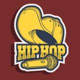 Conception d'autocollant de Hip Hop avec le chapeau de base-ball Snapback Flexfit et Mic Microphone Illustration Stock