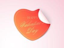 Conception d'autocollant ou de label pour le jour de valentines heureux Photographie stock