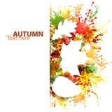 Conception d'automne avec des feuilles sur le fond coloré de taches Photo stock