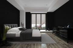 conception 3D de chambre à coucher à la maison architecturale moderne Images stock