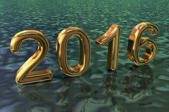 Conception d'or de la nouvelle année 2016 Image libre de droits