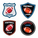 Conception d'emblème avec l'icône de boule de football américain Photographie stock libre de droits