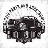 Conception d'emblème de hot rod de vintage photos stock