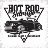 Conception d'emblème de hot rod de vintage photographie stock