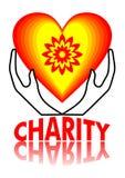 Conception d'enseigne de charité, coeur en jaune et rouge avec le flowershape, deux mains tenant un coeur, charité d'inscription  Photos libres de droits