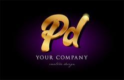 conception d'or h d'icône de logo en métal de lettre d'alphabet d'or du palladium p d 3d illustration libre de droits