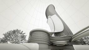 Conception d'hôtel de luxe avec le concept architectural de technologie, 3d au sujet de Image stock
