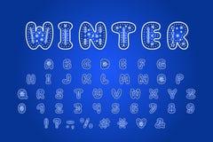 Conception d'hiver d'alphabet Lettres, nombres et signes de ponctuation ENV 10 illustration de vecteur