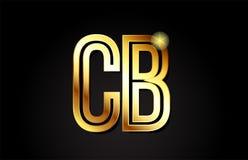 conception d'icône de combinaison de logo des Cb c b de lettre d'alphabet d'or Photographie stock libre de droits