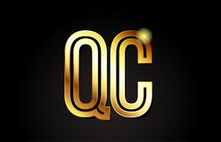 conception d'icône de combinaison de logo du QC q c de lettre d'alphabet d'or Images libres de droits