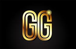 conception d'icône de combinaison de logo de gg g g de lettre d'alphabet d'or Image libre de droits